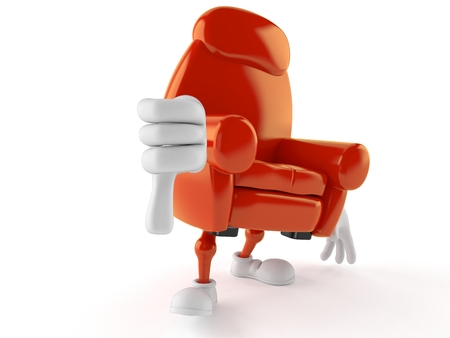Armchair character with thumbs down gesture isolated on white background. 3d illustration