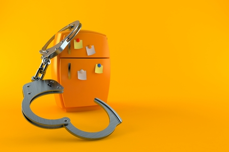 Fridge with handcuffs isolated on orange background. 3d illustration