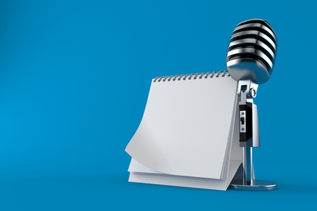 Microphone with blank calendar isolated on blue background. 3d illustration