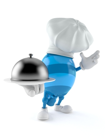 Candy character holding catering dome isolated on white background. 3d  illustration Stock Photo 82ccb9dc5d19