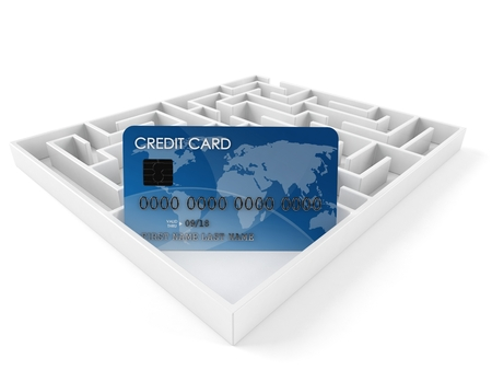 Credit card inside maze isolated on white background. 3d illustration