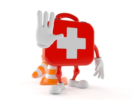 First aid kit character with stop gesture isolated on white background. 3d illustration