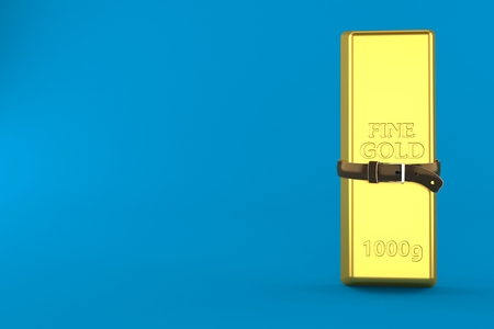 Gold ingot with tight belt isolated on blue background. 3d illustration Stok Fotoğraf - 112488130