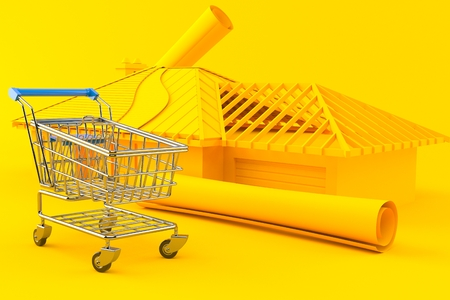 House development background with shopping cart in orange color. 3d illustration Stock Photo