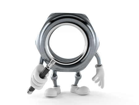 Nut character looking through magnifying glass isolated on white background. 3d illustration