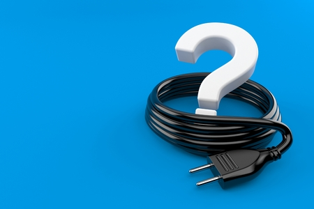 Question mark with electric plug isolated on blue background. 3d illustration Stock Photo