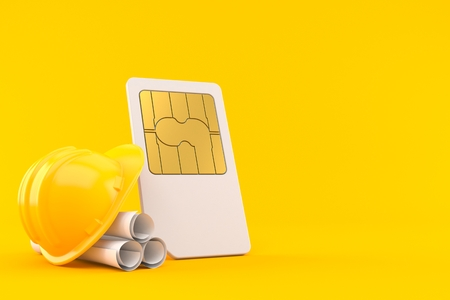 SIM card with blueprints isolated on orange background. 3d illustration