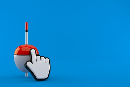 Fishing float with web cursor isolated on blue background. 3d illustration