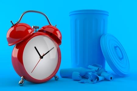 Environment background with alarm clock in blue color. 3d illustration Banco de Imagens