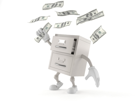 Archives character catching money isolated on white background. 3d illustration