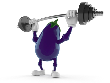 Eggplant character lifting heavy barbell isolated on white background. 3d illustration