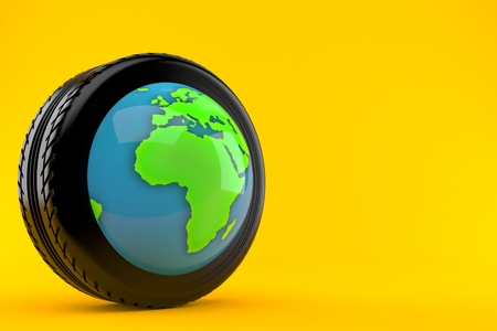 Car tire with world globe isolated on orange background. 3d illustration