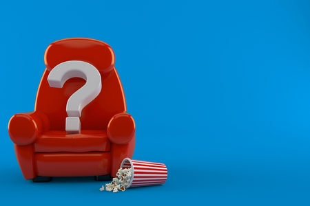Question mark with theater armchair and popcorn isolated on blue background. 3d illustration