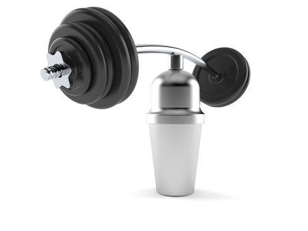 Cocktail shaker with barbell isolated on white background. 3d illustration