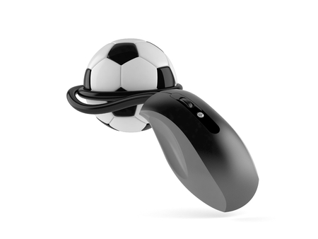 Soccer ball with computer mouse isolated on white background. 3d illustration Imagens