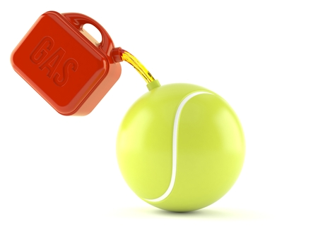 Tennis ball with gasoline can isolated on white background. 3d illustration
