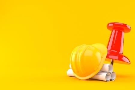 Thumbtack with blueprints isolated on orange background. 3d illustration
