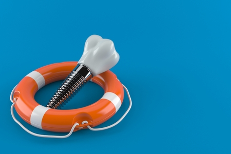 Dental implant with life buoy isolated on blue background. 3d illustration