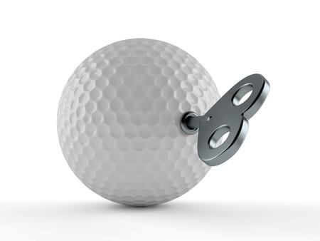 Golf ball with clockwork key isolated on white background. 3d illustration Stock Photo