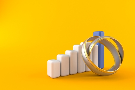 Wedding ring with chart isolated on orange background. 3d illustration