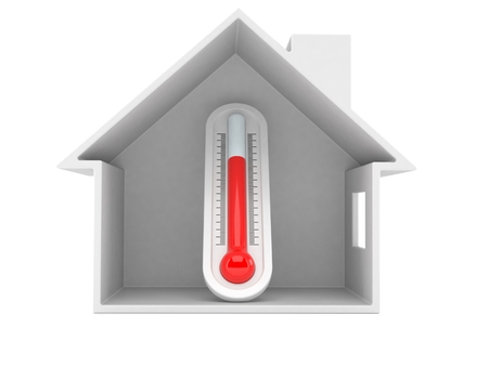 Thermometer inside house cross-section isolated on white background. 3d illustration Stock fotó