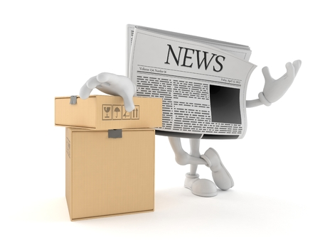 Newspaper character with stack of boxes isolated on white background. 3d illustration Stock Photo