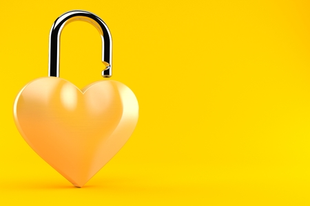 Heart padlock isolated on orange background. 3d illustration
