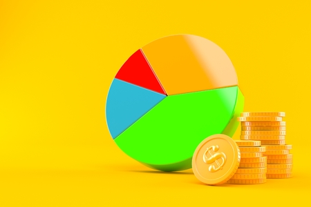 Pie chart with stack of coins isolated on orange background. 3d illustration