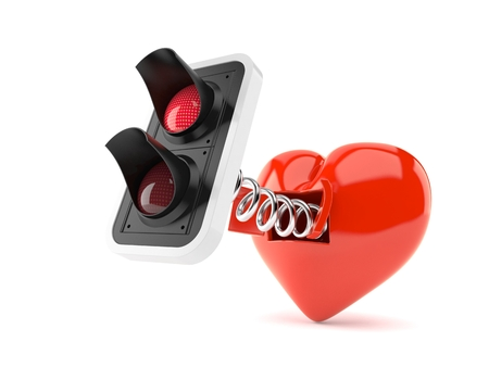 Red traffic light with heart isolated on white background. 3d illustration