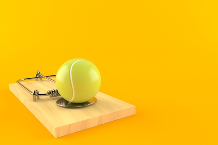 Tennis ball with mousetrap isolated on orange background. 3d illustration Standard-Bild - 112717336