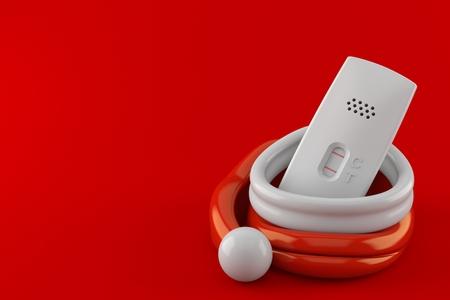 Pregnancy test inside santa hat isolated on red background. 3d illustration
