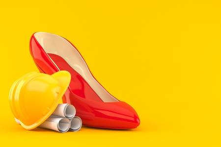 High heel with blueprints isolated on orange background. 3d illustration