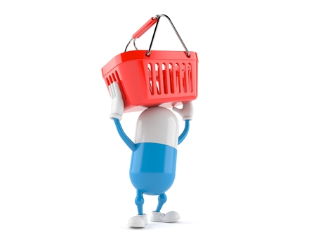 Pill character holding empty shopping basket isolated on white background. 3d illustration