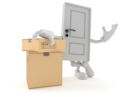 Door character with stack of boxes isolated on white background. 3d illustration