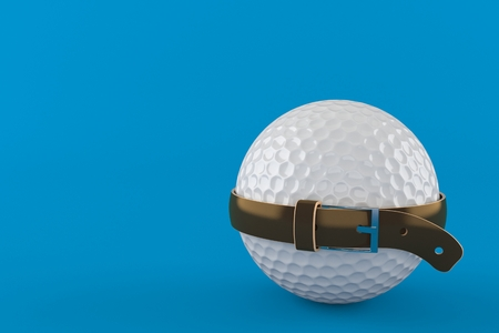 Golf ball with tight belt isolated on blue background. 3d illustration