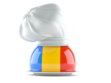 Catering dome with romanian flag isolated on white background. 3d illustration Foto de archivo