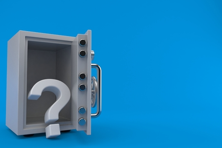 Question mark inside safe isolated on blue background. 3d illustration