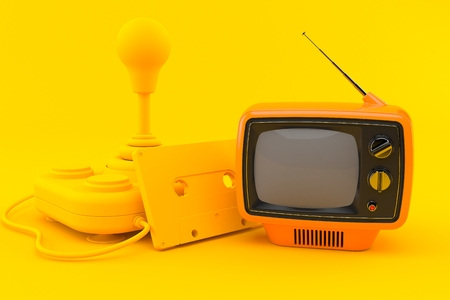 Retro gaming background with tv in orange color. 3d illustration