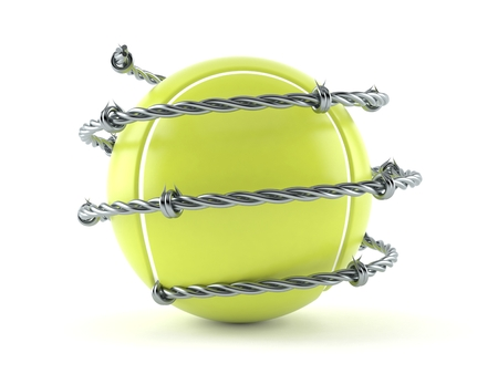 Tennis ball with barbed wire isolated on white background. 3d illustration Archivio Fotografico - 113064236