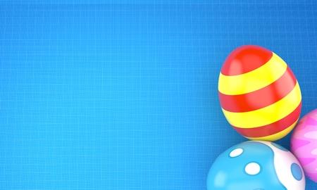 Easter eggs on blueprint background. 3d illustration Stock Photo