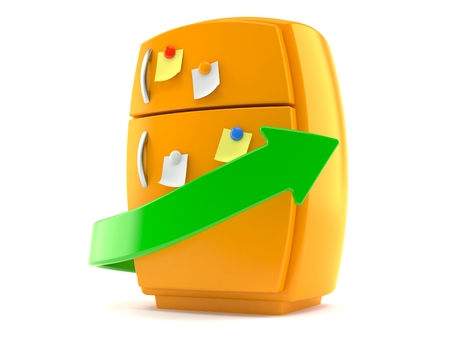 Orange fridge with green arrow isolated on white background. 3d illustration Stock fotó