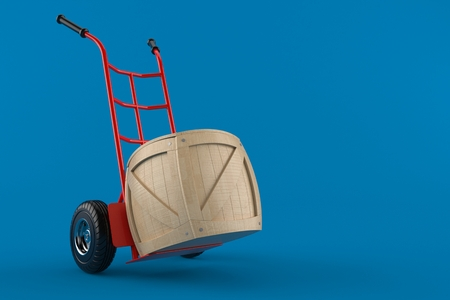 Hand truck with crate isolated on blue background. 3d illustration