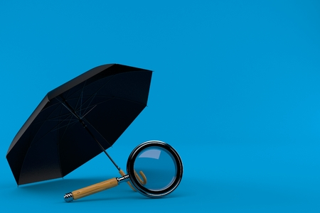 Umbrella with magnifying glass isolated on blue background. 3d illustration