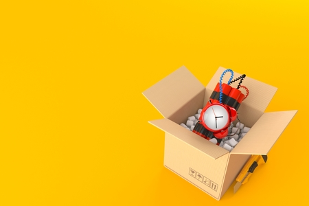 Time bomb inside cardboard box isolated on orange background. 3d illustration