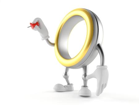 Wedding ring character holding thumbtack isolated on white background. 3d illustration