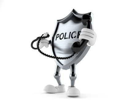 Police badge character holding a telephone handset isolated on white background. 3d illustration Stock fotó