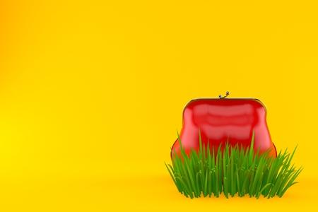 Purse on grass isolated on orange background. 3d illustration Stock Photo