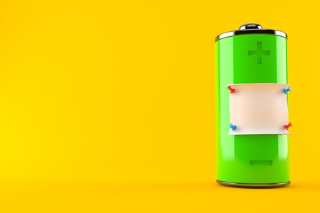 Green battery with blank note isolated on orange background. 3d illustration