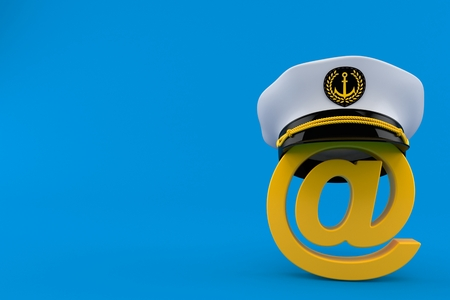 E-mail symbol with captains hat isolated on blue background. 3d illustration  Stock Photo 95ce16303693