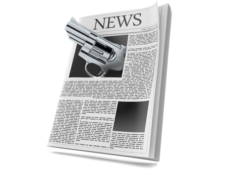 Gun inside newspaper isolated on white background. 3d illustration 스톡 콘텐츠